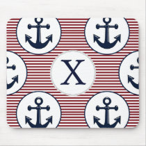 Red Stripes Navy Blue Anchor Nautical Pattern Mouse Pad