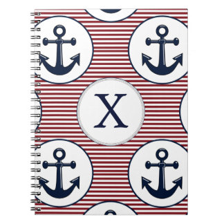 Red Stripes Navy Blue Anchor Nautical Pattern Notebook