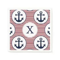 Red Stripes Navy Blue Anchor Nautical Pattern Paper Napkin