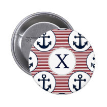 Red Stripes Navy Blue Anchor Nautical Pattern Pinback Button