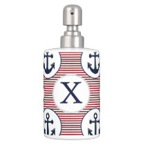 Red Stripes Navy Blue Anchor Nautical Pattern Soap Dispenser And Toothbrush Holder
