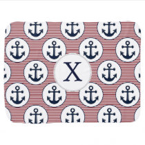 Red Stripes Navy Blue Anchor Nautical Pattern Stroller Blanket