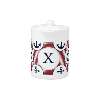 Red Stripes Navy Blue Anchor Nautical Pattern Teapot