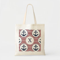 Red Stripes Navy Blue Anchor Nautical Pattern Tote Bag