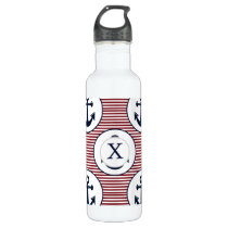 Red Stripes Navy Blue Anchor Nautical Pattern Water Bottle