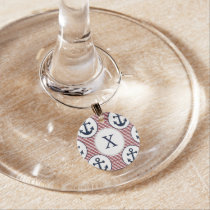 Red Stripes Navy Blue Anchor Nautical Pattern Wine Charm