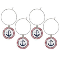 Red Stripes Navy Blue Anchor Nautical Pattern Wine Glass Charm