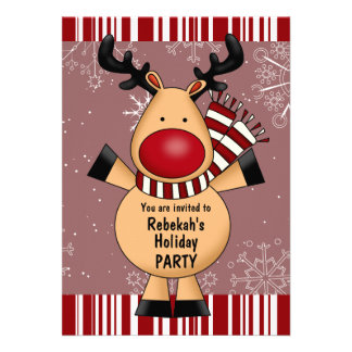 Red Stripes Reindeer Holiday Party Invitations