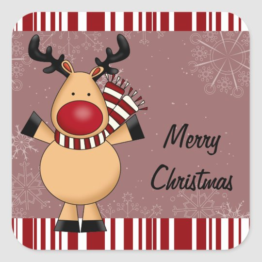 Red Stripes Reindeer Square Sticker