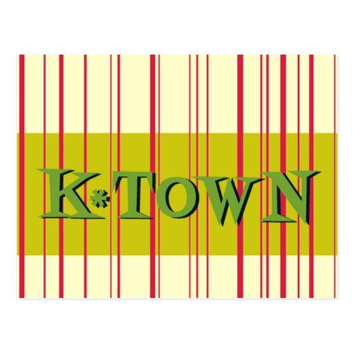 Red Stripes Retro K*Town Postcard
