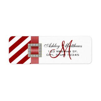 Red Stripes, Ribbon Monogram for Weddings Label