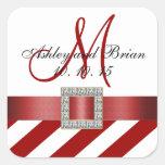 Red Stripes Ribbon Monogram Wedding Favor Label Square Sticker