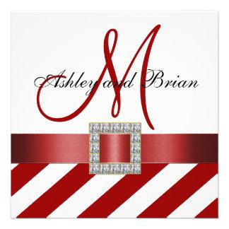 Red Stripes Ribbon Monogram Wedding Invitation