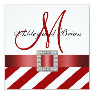 Red Stripes, Ribbon, Monogram Wedding Invitation