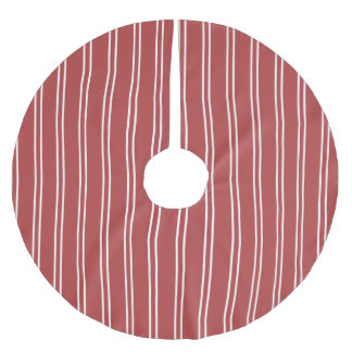 Red Stripes White Lines Pattern Brushed Polyester Tree Skirt