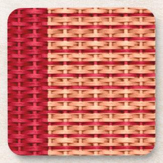 Red stripes wicker retro graphic design drink coasters