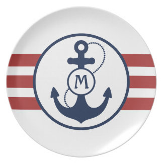 Red Stripes with Blue Anchor and Monogram Plate
