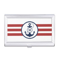 Red Stripes with Nautical Anchor and Monogram Business Card Case