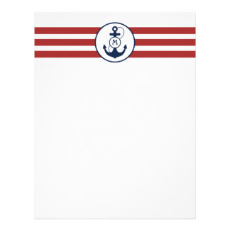 Red Stripes with Nautical Anchor and Monogram Letterhead