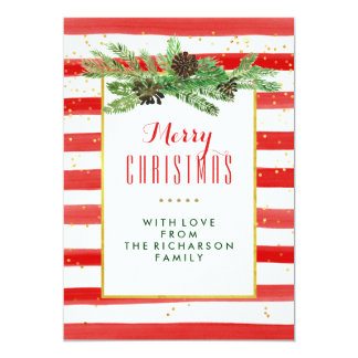 Red Stripes with Pine and Gold | Merry Christmas Card