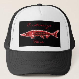red sturgeon swimming trucker hat
