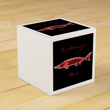 Beach Themed red sturgeon underwater black favor box