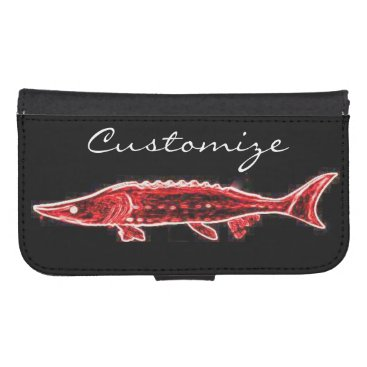 Beach Themed red sturgeon underwater black phone wallet