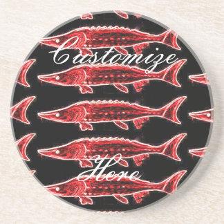 red sturgeons black sandstone coaster