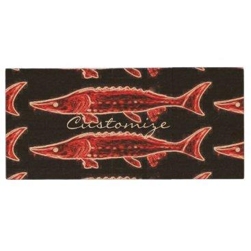 Beach Themed red sturgeons on black wood USB flash drive