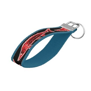 Beach Themed red sturgeons on black wrist keychain