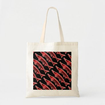 Beach Themed red sturgeons rising tote bag