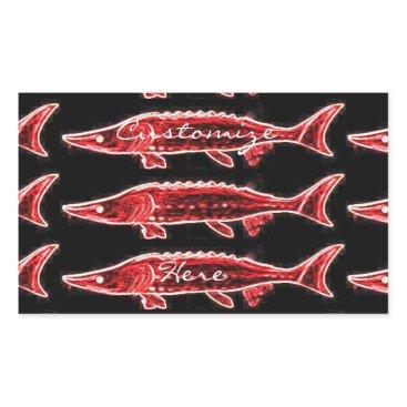 Beach Themed red sturgeons swimming rectangular sticker