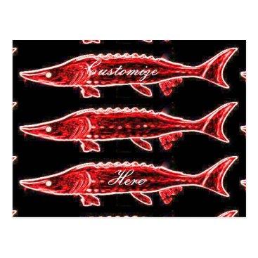 Beach Themed red sturgeons Thunder_Cove black Postcard
