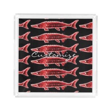 Beach Themed red sturgeons Thunder_Cove black Serving Tray