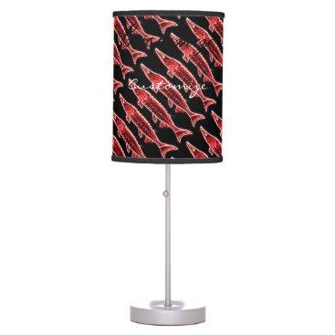 Beach Themed red sturgeons Thunder_Cove black Table Lamp