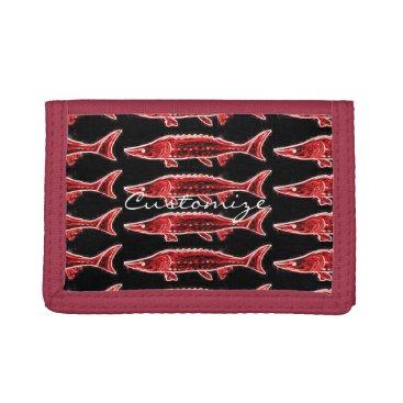 Beach Themed red sturgeons Thunder_Cove black Tri-fold Wallet