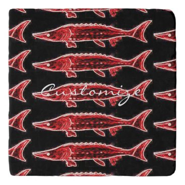 Beach Themed red sturgeons Thunder_Cove black Trivet