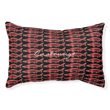 Beach Themed red sturgeons underwater black pet bed