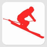 RED STYLE SKI SQUARE STICKER
