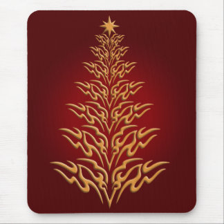 Red Stylish Christmas Tree Mouse Pad