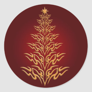 Red Stylish Christmas Tree Stickers