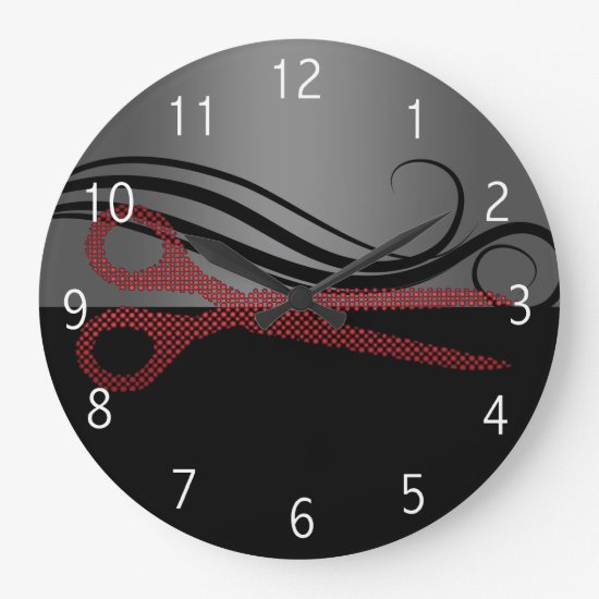Red stylish hair salon clock