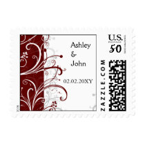 red stylish wedding postage