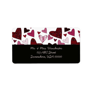 Red Stylized Hearts Label