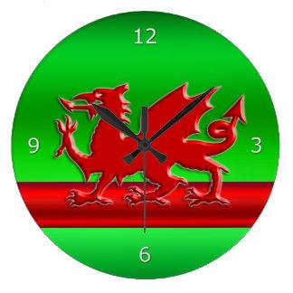 Red stylized Welsh Dragon on green metallic-look Clocks