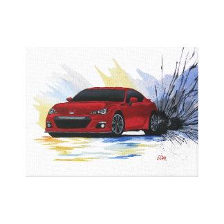 Red Subaru BRZ Watercolor Painting Canvas Print