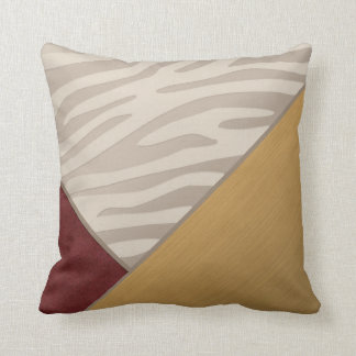 Red Suede Brushed Gold Satin Taupe Zebra Print Throw Pillow