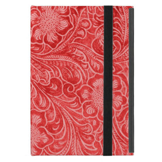 Red Suede Leather Look Embossed Flowers Case For iPad Mini