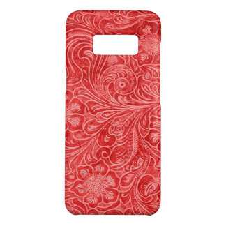 Red Suede Leather Look Embossed Flowers Case-Mate Samsung Galaxy S8 Case