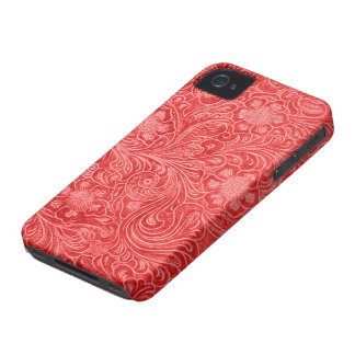 Red Suede Leather Look Embossed Flowers iPhone 4 Cover